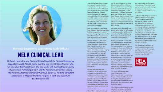 NELA Clinical Lead - Bulletin 104
